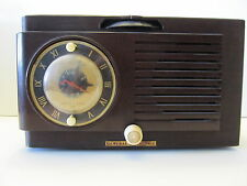 Early 1950's GE 514 5-tube AM Clock Radio - Brown case