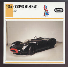 1964 Cooper-Maserati MK 5 Mark V British Race Car Photo Spec Sheet Info CARD