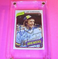 AUTOGRAPH 1980 Topps #154 Lary Sorensen Brewers, SIGNED Baseball card auto
