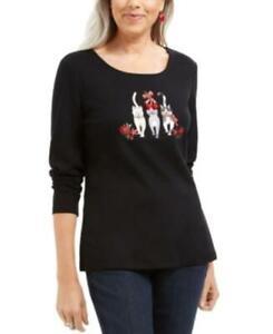 MSRP $37 Karen Scott Cotton Festive Catwalk Top Black Size XL