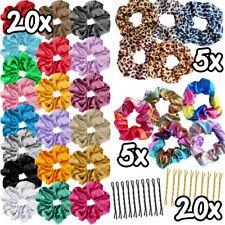 50 Pack Hair Scrunchies Velvet Scrunchy Bobbles Elastic Hair Bands Holder Pin UK