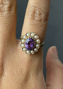 Edwardian Amethyst & Pearl 9ct Cluster Ring Mint Condition Size O - US Size 7