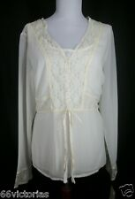 EMMA JAMES Size 12 NEW Ivory Sheer Lace top Blouse Shirt