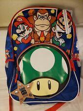 """Backpack - Super Mario - Luigi & Donkey Kong 16"""" New 191140"""