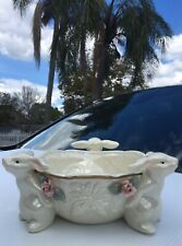 Vintage Easter Bunny Rabbit Candy Dish Iridescent Lusterware Bowl Decoration