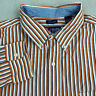 Chaps Button Up Shirt Mens 2XL Orange Blue White Long Sleeve Striped Casuals