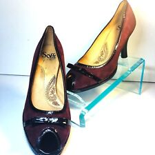 SOFFT High Heels Women's Size 9.5 Suede Leather Rust Red Peep Toe Patent Bow  OS