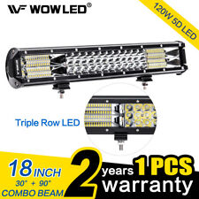 "WOWLED 18"" 120W Roof LED Light Bar Triple Row Spot Flood Driving Work Lights 4WD"