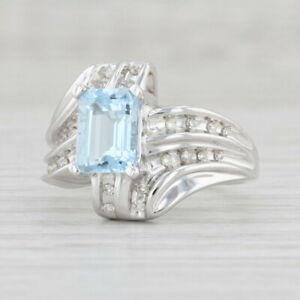 1.66ctw Aquamarine Diamond Bypass Ring 14k White Gold Size 7
