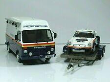 Pack Rally Porsche 911 SC RS #4 1000 Pistes 1985 Gr.4 VW LT35 +Trailer OttO 1:18