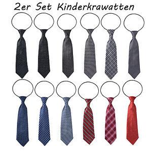 2 Stück Paar Kinder Krawatten Kinderkrawatte Jungen Gummiband gebunden dehnbar