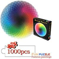 1000 Piece Puzzles - Gradient Color Rainbow Large Round Jigsaw puzzle HOT
