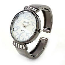 Gun Black Metal Crystal Band Large Face Women's Bangle Cuff Watch