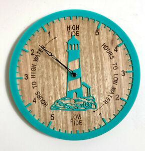 Tide Clock Australian Made Tasmanian Oak Wood Sea Green, Lighthouse Art Design