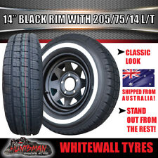 "14"" Black Sunraysia Rim & 205 75 14 LT Whitewall Tyre suits Ford Caravan Trailer"