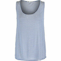 LACOSTE Women's Navy & White Silk Blend Striped Vest, Large