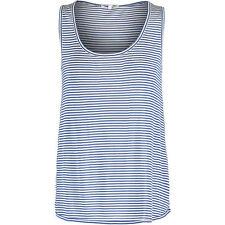 LACOSTE Women's Navy & White Silk Blend Striped Vest, Large