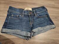 Hollister Womens Denim Cuffed Shorts Size 00 W 23 Dark Wash Low Rise