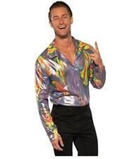 Men's Disco Get Down Retro Shirt Long Sleeve Costume Accessories 60s 70s STD-XXL