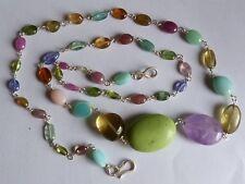 Necklace silver 925,magnesite,opal,garnet,tourmaline,quartz lemon,amethyst
