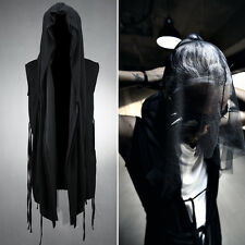 ByTheR Men's Mesh Layerd String Detail Dark Gothic Sleeveless Hooded Cardigan UK