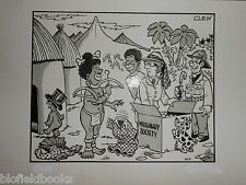 "CLIFFORD C LEWIS ""CLEW"" Original Pen & Ink Cartoon - Missionaries/Natives #381"