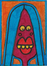 Original ACEO Drawing by Jay Snelling. Outsider Art Brut. Woman on Orange. ATC