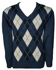 Mens Full-sleeve Knitted Classic Style Jumper V Neck Sweater Argyle Msk-106 Navy Mix XL