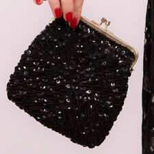vintage black & gold sequin beaded evening bag Hand made in Hong Kong