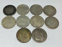 Lot of 10 1921 Morgan Silver Dollars - $5 Face 90% - Bullion 1/2 Roll w/Issues