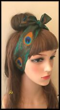 Vintage Peacock Feather Fabric Headband Bandana Hairband Hair Tie Band Scarf