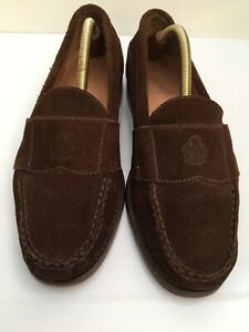 Ralph Lauren Polo Mens Suede Leather Shoes Loafers Coffee Brown Size 9 VGC