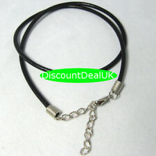 2pcs 2.5mm 18/'/' Black Cowhide Leather Necklace Clasp Cords String Strap NQ3 #726