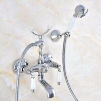 Chrome Brass Bathroom Wall Mounted Clawfoot Tub Filler Faucet w/ Handshower