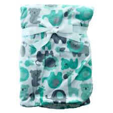 Green Animal Mink Sherpa Fleece Baby Crib Pram Moses Blanket 75 x 100 cm