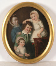 """Group portrait of a lady with her three children"", English School, oil on panel"