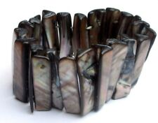 Rare Superbe bracelet manchette extensible en nacre naturel bijou vintage 1839