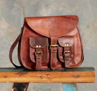 """13"""" Vintage Leather Womens Messenger Bag Satchel Handbag Shoulder Crossbody Bag"""