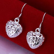 Elegant Hollow Heart Drop/Dangle Hook Earrings Women 925 Sterling Silver Jewelry