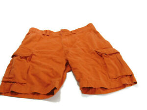 Polo Ralph Lauren Shorts Orange Cotton Flat Front Cargo Pockets Mens Size 36