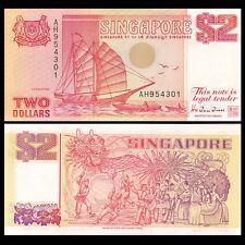 Singapore 2 Dollar, 1990, P-27, UNC Boat