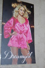 Womens Lingerie HOT FUCHSIA PINK Satin Look NIGHTGOWN & ROBE Dreamgirl L 12-14