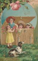Vintage Postcard Valentine Children Play in Gold Trunk Hound Dog Embossed