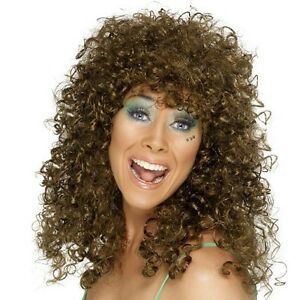 Ladies 80s 1980s Boogie Babe Fancy Dress Wig Brown Perm Curly wig by Smiffys