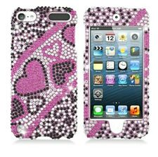 iPod Touch 5th & 6th & 7th Gen - Hard Diamond Bling Case Cover Pink Black Hearts