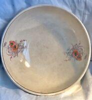 Vintage Universal Cambridge Camwood Ivory Poppy Serving Bowl 22 Carat Gold Rim