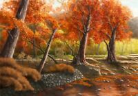 Autumn Forest Trees - Beautiful Landscape Painting Art Poster / Canvas Picture