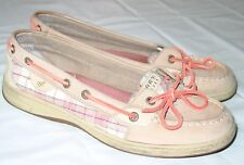 Sperry Top-Sider Size Boat Shoes 9 Leather Tan  Pink Plaid Sparkle Womens