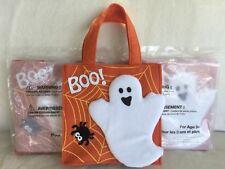 "Lot of (3) Avon Halloween Ghost Boo Felt Bags / Orange / 8"" x 8"" x 3"" / New"