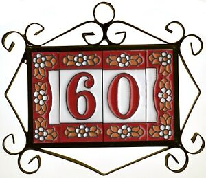 Hand-painted Red Floral Spanish Ceramic House Number Tiles & Metal Frames